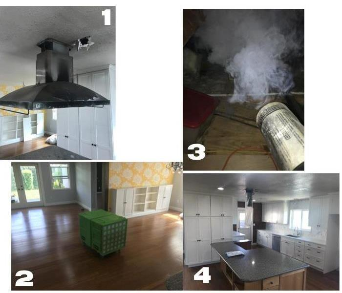 1 major damage to range hood, 2 air scrubber, 3 thermal fog, 4 kitchen after clean up